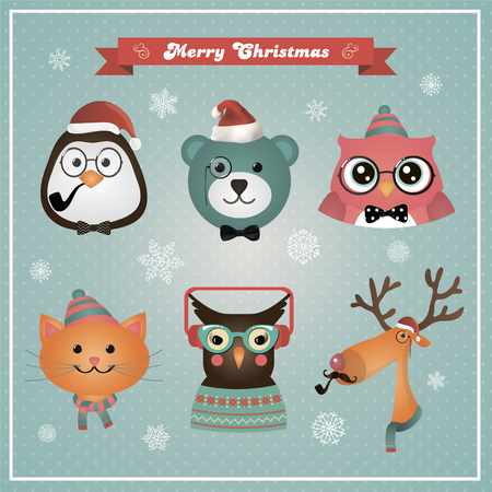 vintage baby: Cute Christmas Fashion Hipster Animals and Pets. Vector Illustration. New Year, Xmas Colorful Cartoon Chracters.