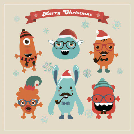 Christmas Freaky Cute Retro Hipster Monsters Icons, Funny Vector Illustration. New Year, Xmas Cartoon Characters. Winter, Snow