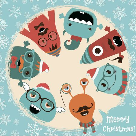 Hipster Retro Freaky Monsters Card Illustration, Banner, Background. New Year Cartoon Characters. Vector Illustration. Illustration