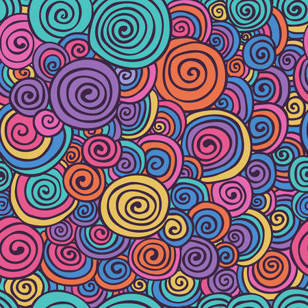 Abstract Colorful Hand Sketched Swirls Circles Seamless Background Pattern. Vector Illustration. Pattern Swatch. Hand Drawn Scribble Wavy Texture Vettoriali