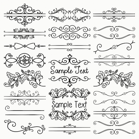 Set of Hand Drawn Sketched Black Doodle Design Elements. Decorative Floral Rustic Dividers, Borders, Swirls, Scrolls, Text Frames. Vintage Vector Illustration.