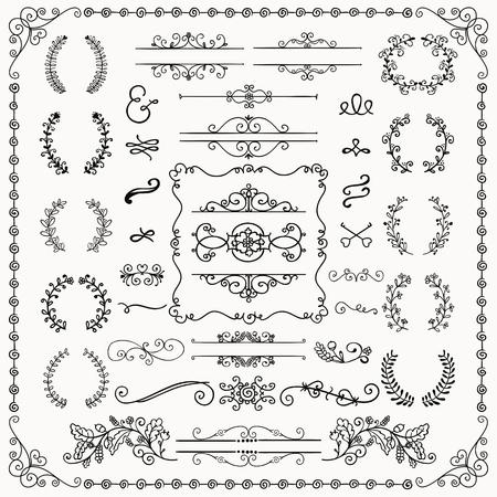 ink painting: Black Hand Drawn Sketched Decorative Doodle Design Elements. Frames, Text Frames, Dividers, Floral Branches, Borders, Brackets. Vector Illustration