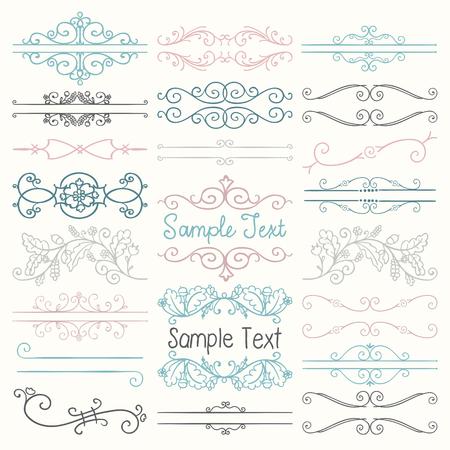vintage scrolls: Set of Hand Drawn Colorful Doodle Design Elements. Decorative Floral Dividers, Borders, Swirls, Scrolls, Text Frames. Vintage Vector Illustration.