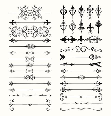 손으로 그린 블랙 낙서 디자인 요소의 집합입니다. 장식 꽃 디바이더, 화살표, 소용돌이 모양, 스크롤. 빈티지 벡터 일러스트 레이 션.