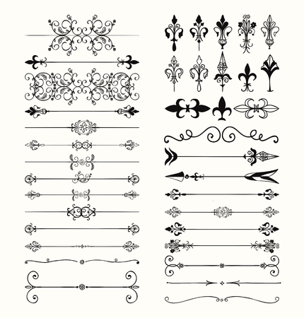 Set of Hand Drawn Black Doodle Design Elements. Decorative Floral Dividers, Arrows, Swirls, Scrolls. Vintage Vector Illustration.