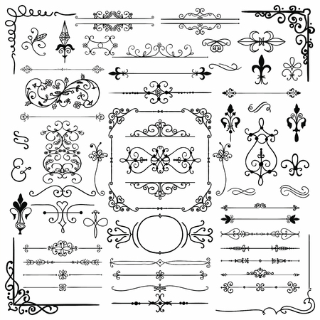 scrolls: Black Hand Drawn Sketched Decorative Doodle Design Elements. Frames, Text Frames, Dividers, Borders, Corners, Swirls, Scrolls. Vector Illustration