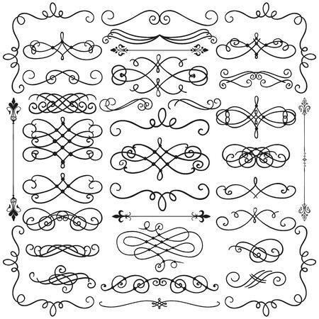 vintage scrolls: Set of Hand Drawn Black Doodle Design Elements. Decorative Swirls, Scrolls, Text Frames, Dividers. Vintage Vector Illustration. Stock Photo