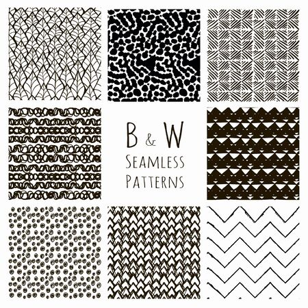 Set of Eight Abstract Hand Drawn Sketched Geometric Black Seamless Background Patterns. Fully Editable file with Pattern Swatches. Vetor Illustration