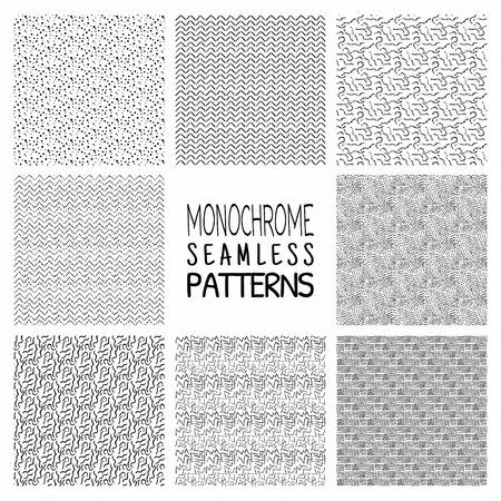 Ensemble de huit main abstraite dessinée esquissée géométrique monochrome noir Seamless Pattern Patterns Vecteurs