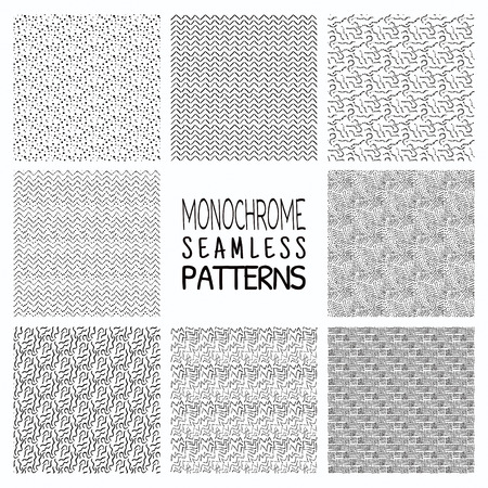 abstract seamless: Set of Eight Abstract Hand Drawn Sketched Geometric Monochrome Black Seamless Background Patterns