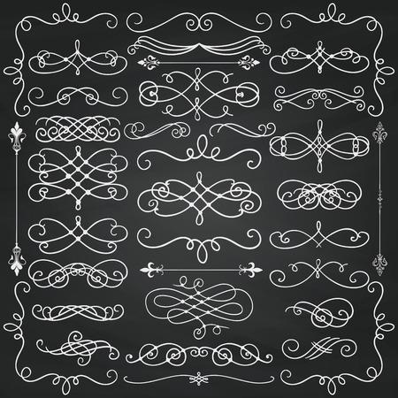 dibujo: Conjunto de elementos del diseño del Doodle. Remolinos decorativos, pergaminos, marcos de texto, divisores. Textura del fondo de la pizarra. Tiza de dibujo ilustración de la vendimia.