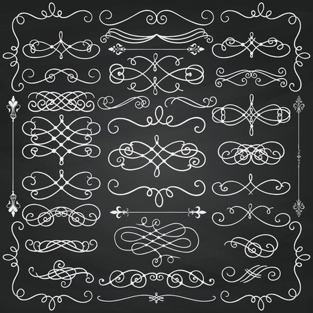 Set of  Doodle Design Elements. Decorative Swirls, Scrolls, Text Frames, Dividers. Chalkboard Background Texture. Chalk Drawing  Vintage Illustration.