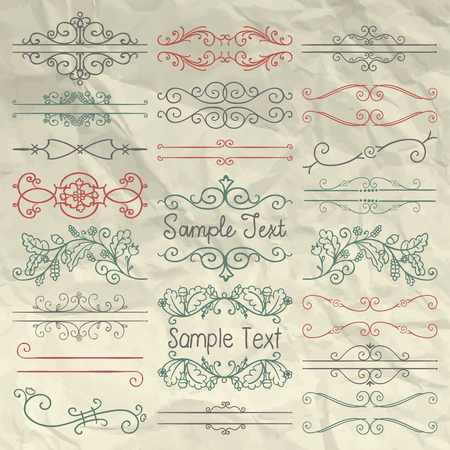 vintage scrolls: Set of Sketched Doodle Design Elements. Decorative Floral Dividers, Borders, Swirls, Scrolls, Text Frames on Crumpled Paper Texture. Pen Vintage Illustration.