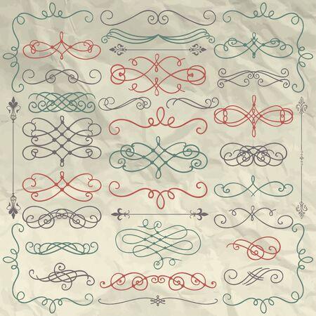 vintage scrolls: Set of  Colorful Doodle Design Elements on Crumpled Paper Texture. Decorative Swirls, Scrolls, Text Frames, Dividers. Vintage Illustration.