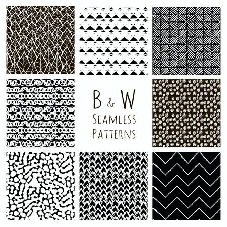 vetor: Set of Eight Abstract Hand Drawn Sketched Geometric Black Seamless Background Patterns. Fully Editable file with Pattern Swatches. Vetor Illustration