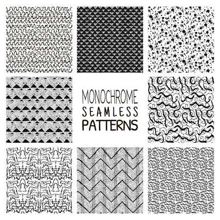 mesh texture: Set of Eight Abstract Hand Drawn Sketched Geometric Monochrome Black Seamless Background Patterns. Dots, Sands, Lines, Things. Vector Illustration