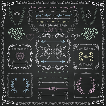border cartoon: Chalk Drawing Colorful Hand Drawn Sketched Decorative Doodle Design Elements. Frames, Text Frames, Dividers, Floral Branches, Borders, Brackets on Chalkboard Texture.