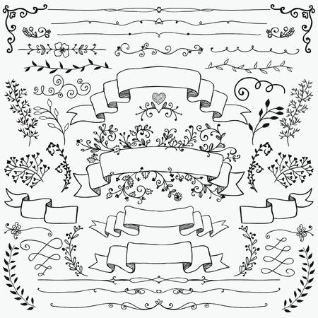 sketched: Black Doodle Design Elements. Sketched Rustic Decorative Floral , Dividers, Branches, Ribbons. Vintage Illustration. Illustration