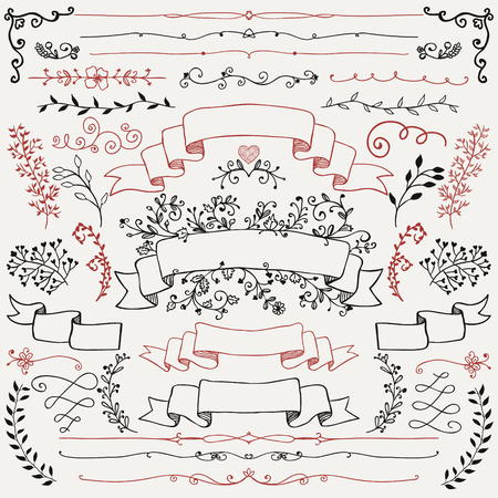 art flower: Doodle Design Elements. Sketched Rustic Decorative Floral , Dividers, Branches, Ribbons. Vintage  Illustration.