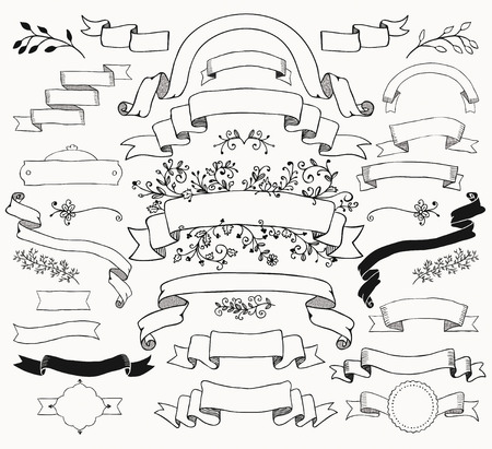 落書きは黒リボンのセットです。スケッチの素朴な装飾的な花のデザイン要素。ヴィンテージのイラスト。