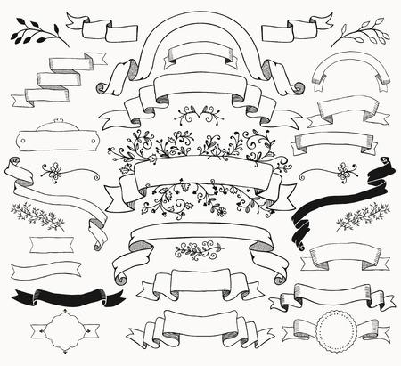 Set of  Black Doodle Ribbons. Sketched Rustic Decorative Floral Design Elements. Vintage Illustration.