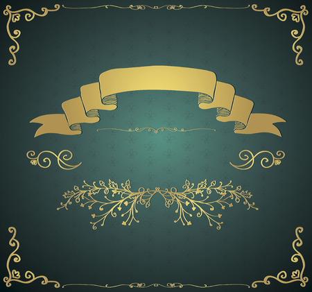 Goldene Glossy königliche Weinlese-Einladung Karte mit Doodle Hand Sketched Elemente. Dekorative Retro-Design-Elemente. Zweige, Stechzirkel, Strudel, Band. Vektor-Illustration