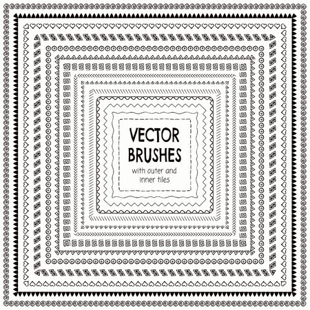 brashes: Collection of Black Hand Drawn Doodle Pattern Brushes with Outer and Inner Tiles, Borders and Frames. Sketched Rustic Vector Illustration with Pattern Brashes
