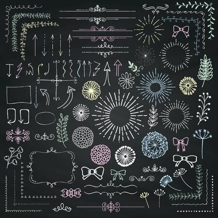 chalk drawing: Decorative Hand Sketched Rustic Floral Doodle Corners, Branches, Frames, Arrows, Dividers, Design Elements on Chalk Board Texture. Chalk Drawing Vector Illustration. Illustration
