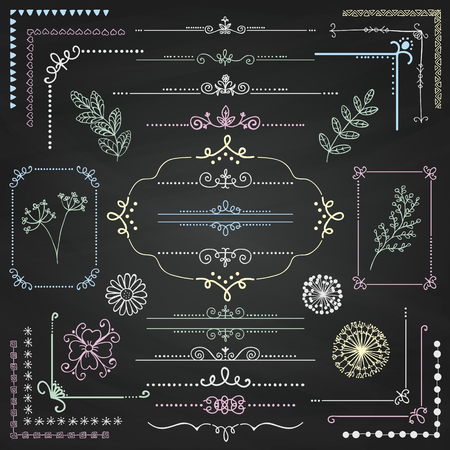 chalks: Decorative Sketched Rustic Floral Doodle Corners, Branches, Frames, Dividers, Text Frames, Border Lines, Page Calligraphic Design Elements on Chalk Board Texture. Chalk Drawing Vector Illustration.