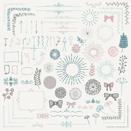 Decoratieve Kleurrijke geschetste Rustic Floral Doodle Corners, takken, Frames, Arrows, verdelers, Design Elements. Illustratie.
