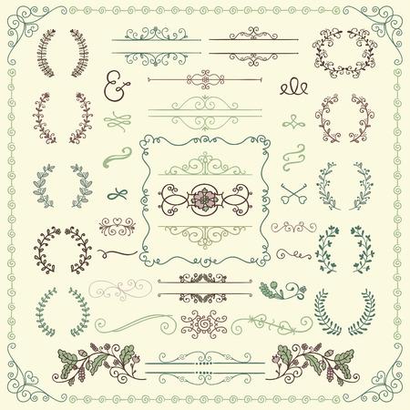 Bunte skizzierte dekorative Gekritzel-Gestaltungselemente. Rahmen, Textrahmen, Teiler, Floral Branches, Borders, Brackets. Vektorgrafik