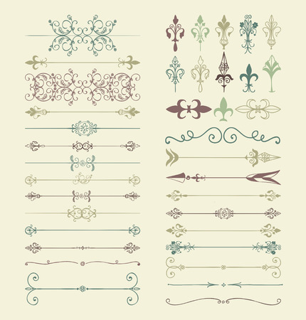vintage scrolls: Set of  Colorful Doodle Design Elements. Decorative Floral Dividers, Arrows, Swirls, Scrolls. Vintage Illustration. Illustration