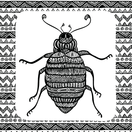Coloring Page of Black Bug with Patterns,  Illustartion, Tribal Totem Insect for Adult Coloring Books or Tattoos, Isolated on Background. Monochrome Sketch.