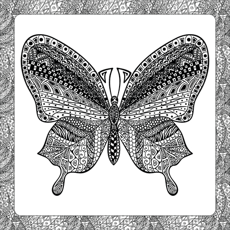 Coloring Page of Black Butterfly with Patterns,  Illustartion, Decorative Tribal Totem Insect for Adult Coloring Books or Tattoos, Isolated on Background. Monochrome Sketch.