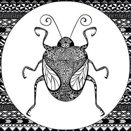 Coloring Page of Decorative Black Bug with Hand Drawn Patterns, Illustartion, Tribal Totem Insect for Adult Coloring Books or Tattoos, Isolated on Background. Illustration