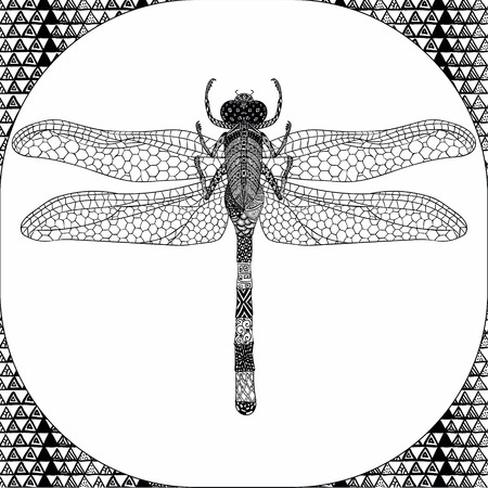 tarsus: Coloring Page of Black Dragonfly with Hand Drawn Patterns, Illustartion, Decorative Tribal Totem Insect for Adult Coloring Books or Tattoos, Isolated on Background. Monochrome Sketch.
