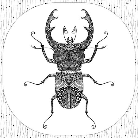 tarsus: Coloring Page of Decorative Black Stag-beeatle with Hand Drawn Patterns, Zentangle Vector Illustartion, Tribal Totem Insect for Adult Coloring Books or Tattoos, Isolated on Background. Monochrome Sketch.