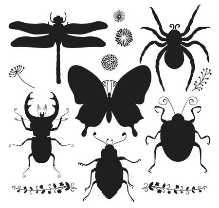 tarsus: Collection of Six Black Shapes of Hand Drawn Doodle Insects. Dragonfly, Butterfly, Spider, Stag-beetle, Bugs. Vector Illustartion. Insect Silhouettes. Isolated Clip Art