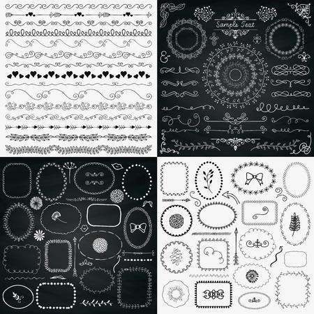 Ensemble de cadres décoratifs noir et craie dessinés à la main esquissée rustique Doodle, frontières, séparateurs, éléments de conception. Texture d'arrière-plan de tableau noir. Illustration vectorielle Vecteurs