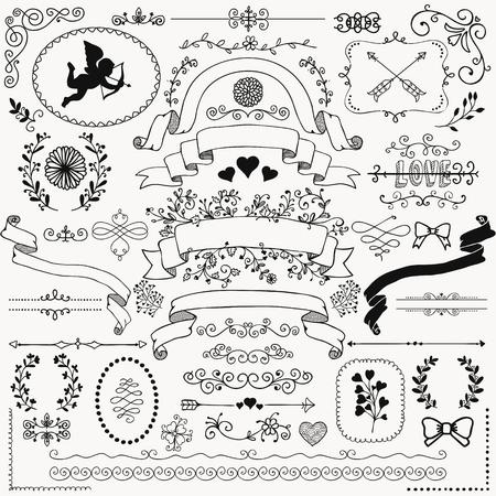 Vector Black Hand Sketched Rudy Floral Doodle Swirls, branches, éléments de conception. Les coins décoratifs, les diviseurs, les flèches, les rouleaux, les rubans. Dessin à main Illustration vectorielle. Pinceaux à motifs. Vecteurs