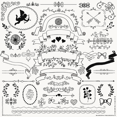 sketched arrows: Vector Black Hand Sketched Rustic Floral Doodle Swirls, Branches, Design Elements. Decorative Corners, Dividers, Arrows, Scrolls, Ribbons. Hand Drawing Vector Illustration. Pattern Brushes.