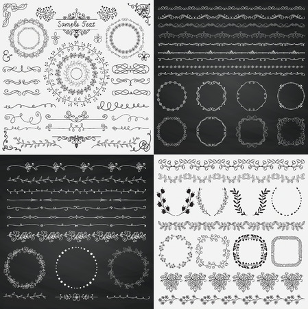 chalks: Set of Decorative Black and Chalk Drawing Hand Sketched Rustic Doodle Frames, Borders, Dividers, Design Elements. Chalkboard Background Texture. Vector Illustration.