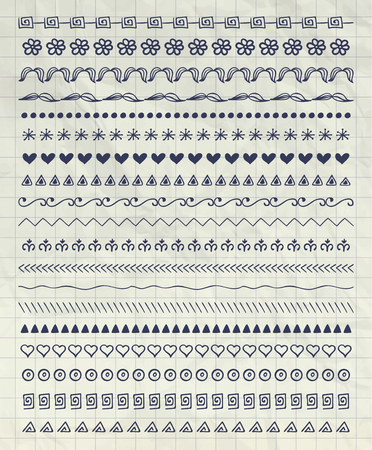 line pattern: Collection of Pen Drawing Doodle Pattern Brushes, Tiles, Line Borders on Notebook Paper Texture. Decorative Sketched Rustic Vector Illustration Illustration