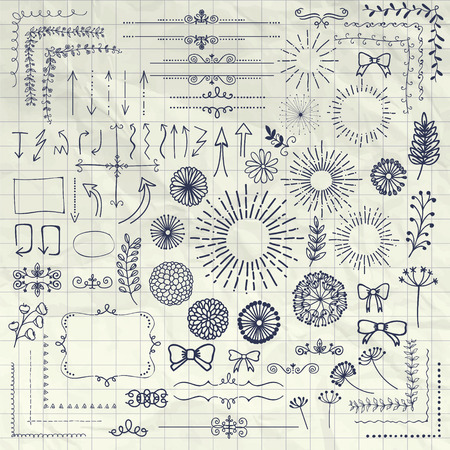 sketched arrows: Decorative Pen Drawing Hand Sketched Rustic Floral Doodle Corners, Branches, Frames, Arrows, Dividers, Design Elements on Crumpled Notebook Paper Texture. Vector Illustration. Illustration