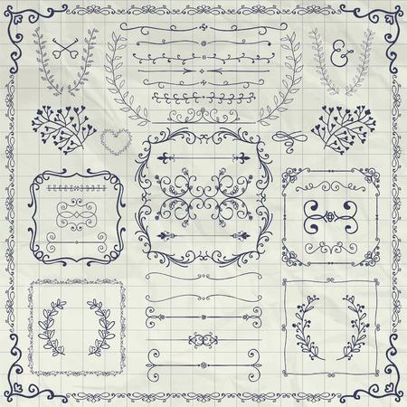 brackets: Pen Drawing Sketched Decorative Doodle Design Elements. Frames, Text Frames, Dividers, Floral Branches, Borders, Brackets on Crumpled Notebook Texture. Vector Illustration Illustration