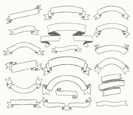 sketched: Set of Hand Drawn Black Doodle Sketched Rustic Decorative Banners and Ribbons. Vintage Outlined Vector Illustration. Illustration