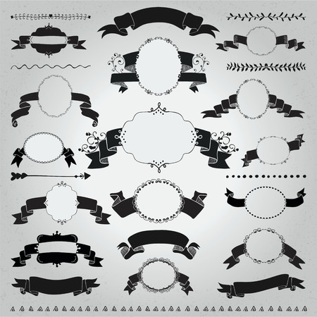 silhouttes: Collection of Hand Drawn Black Doodle Vintage Frames with Ribbons, Banners. Sketched Rustic Decorative Outlined Badges and Lalbels, Dividers on Textured Background. Vector Illustration.