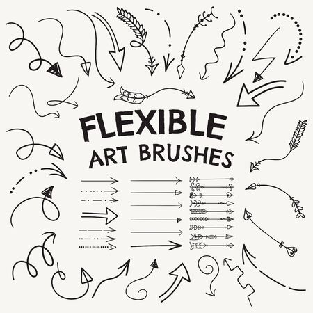 Vector Flexible Arrow Shaped Art Brushes Collection. Set of Flexible Simple Hand Drawn Pointers. Easy to create the right shape or style of arrow Illustration