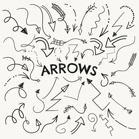 variation: Set of Vector Black Hand Drawn Arrow Shaped Elements. Doodle Outlined Sketched Arrows, Pointers. Vector Illustration. Arrow Variation
