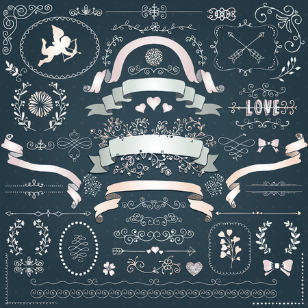 decorative objects: Vector Doodle Swirls, Branches, Wedding Design Elements, Objects, Signs. Decorative White Paper Corners, Dividers, Arrows, Scrolls Ribbons Vector Illustration. Love Vilentine